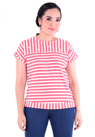PROUD stripe t-shirt with floral pearl pink/white