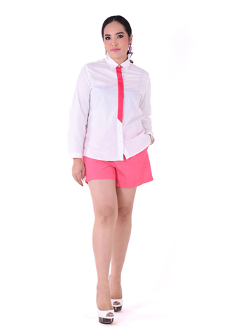 PROUD striped tie shirt white/red