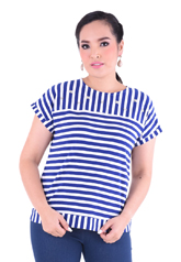 PROUD stripe t-shirt with floral pearl blue/white