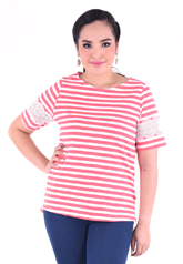 PROUD stripe t-shirt with lace pink/white