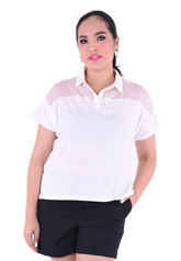 PROUD collar t-shirt with organdy white