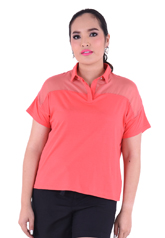PROUD collar t-shirt with organdy orange